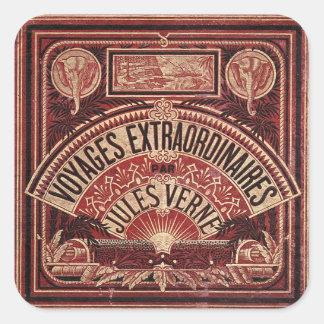 "JULES VERNE ""VIAJES EXTRAORDINAIRES"" (1878) PEGATINA CUADRADA"