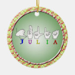 JULIA ASL FINGERSPELLED NAME SIGN FEMALE CHRISTMAS TREE ORNAMENTS