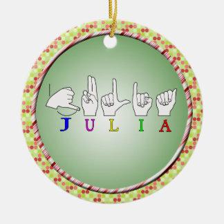 JULIA ASL FINGERSPELLED NAME SIGN FEMALE CHRISTMAS TREE ORNAMENTS