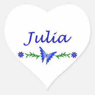 Julia (Blue Butterfly) Heart Sticker