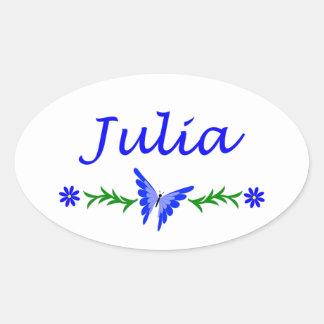 Julia (Blue Butterfly) Oval Sticker