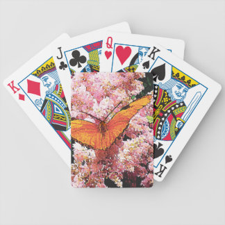 Julia Butterfly on Pink Flowers Bicycle Playing Cards