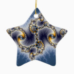 Julia In Blue - Fractal Art Ceramic Ornament