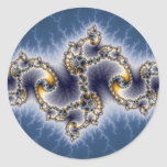Julia In Blue - Fractal Art Classic Round Sticker