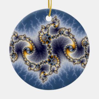 Julia In Blue - Fractal Art Christmas Tree Ornament