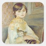 Julia Manet con el gato, 1887 Pegatina Cuadrada
