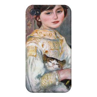 Julia Manet (niño con el gato) Renoir iPhone 4 Carcasas