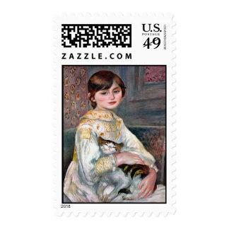 Julia Manet (niño con el gato) Renoir Sello Postal