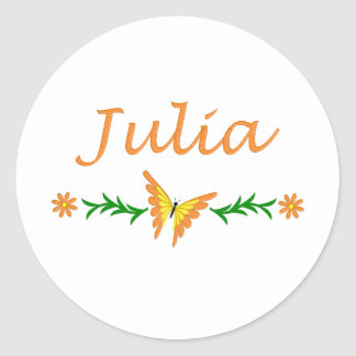 Julia (Orange Butterfly) Classic Round Sticker