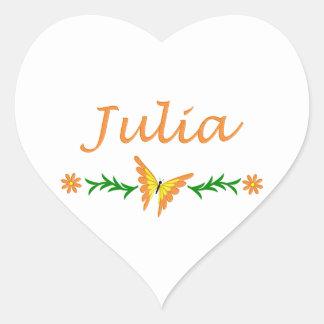 Julia (Orange Butterfly) Heart Sticker