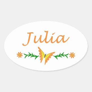 Julia (Orange Butterfly) Oval Sticker