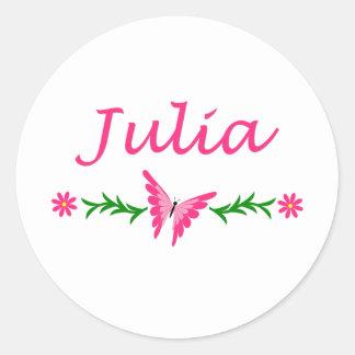 Julia (Pink Butterfly) Classic Round Sticker