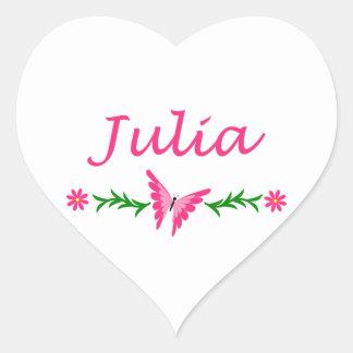 Julia (Pink Butterfly) Heart Sticker