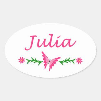 Julia (Pink Butterfly) Oval Sticker
