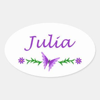 Julia (Purple Butterfly) Oval Sticker