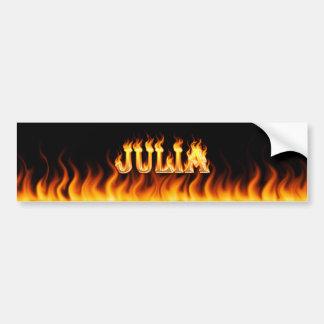 Julia real fire and flames bumper sticker design