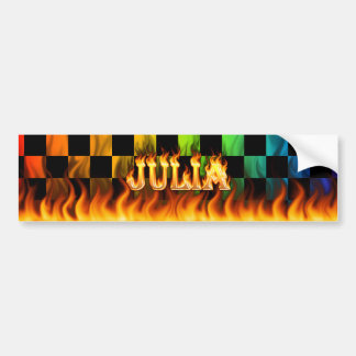 Julia real fire and flames bumper sticker design