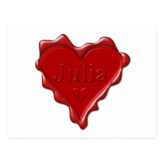 Julia. Red heart wax seal with name Julia Postcard