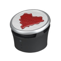 Julia. Red heart wax seal with name Julia Speaker