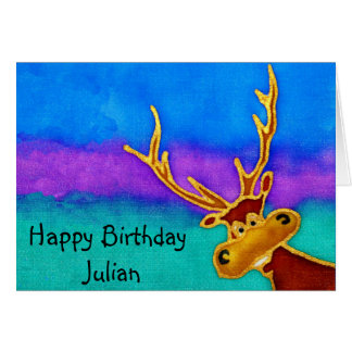 Julian, Happy Birthday silly stag card