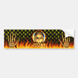Julian skull real fire and flames bumper sticker d