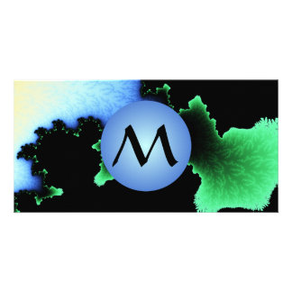 Julia's Joy, Fractal Blobs - Blue Monogram Photo Cards