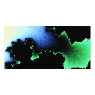 Julia's Joy, Fractal Blobs - Green Blue Black Photo Card Template