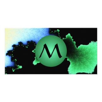 Julia's Joy, Fractal Blobs - Green Monogram Photo Cards