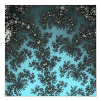 Julia's Lace - black fractal on metalic blue Photo Print