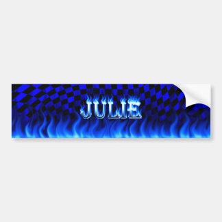 Julie blue fire and flames bumper sticker design.