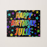 "[ Thumbnail: ""Julie"" First Name, Fun ""Happy Birthday"" Jigsaw Puzzle ]"