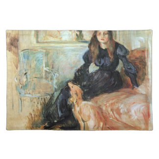 Julie Manet and her greyhound Laertes by Morisot Cloth Place Mat