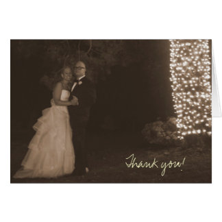 Julie -n- Matt Wedding 4x6 (sepia)-332, Thank you! Greeting Card