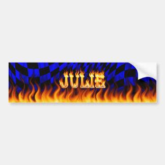 Julie real fire and flames bumper sticker design