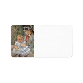 Julie with her nurse by Berthe Morisot Custom Address Label