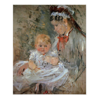 Julie with her nurse by Berthe Morisot Poster