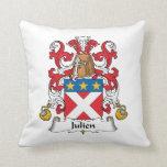 Julien Family Crest Throw Pillows