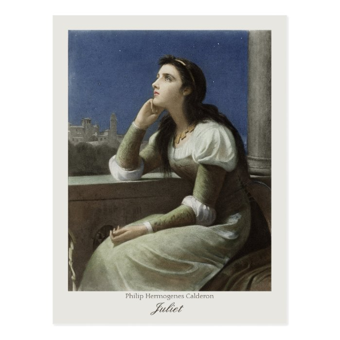 Juliet at the balcony CC0173 Philip H Calderon Postcard