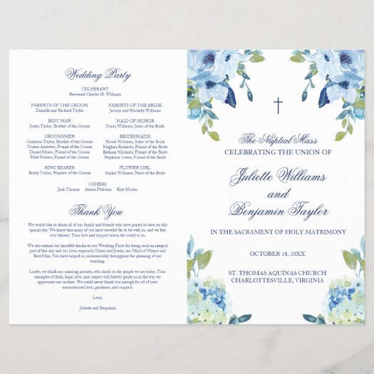 Juliet Catholic Wedding Ceremony with Mass Program