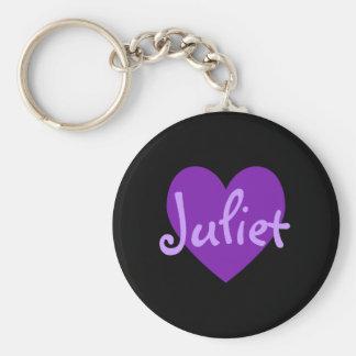 Juliet en púrpura llaveros personalizados