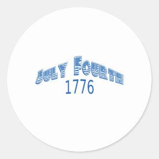Julio azul Fouth 1776 Pegatina Redonda