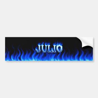 Julio blue fire and flames bumper sticker design. car bumper sticker