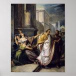 Julio César en su manera al senado Póster