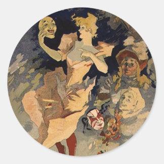 "Julio Cheret ""La Danse"" 1891 Pegatina Redonda"