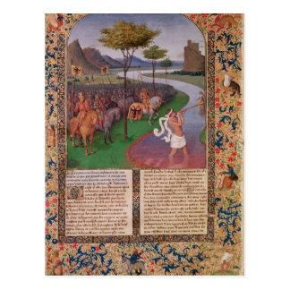 Julius Caesar Crossing the Rubicon c 1470 Postcard