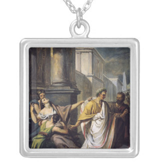 Julius Caesar  on his way to the Senate Silver Plated Necklace