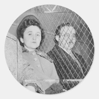 Julius & Ethel Rosenberg After Being Found Guilty Round Stickers
