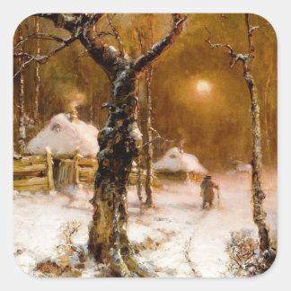 Julius Klever: Winter Night Walk Square Stickers