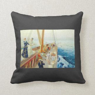 Julius Stewart- Yachting in the Mediterranean Throw Pillow