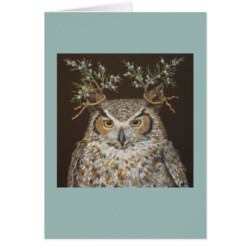 Julius the great-horned owl card